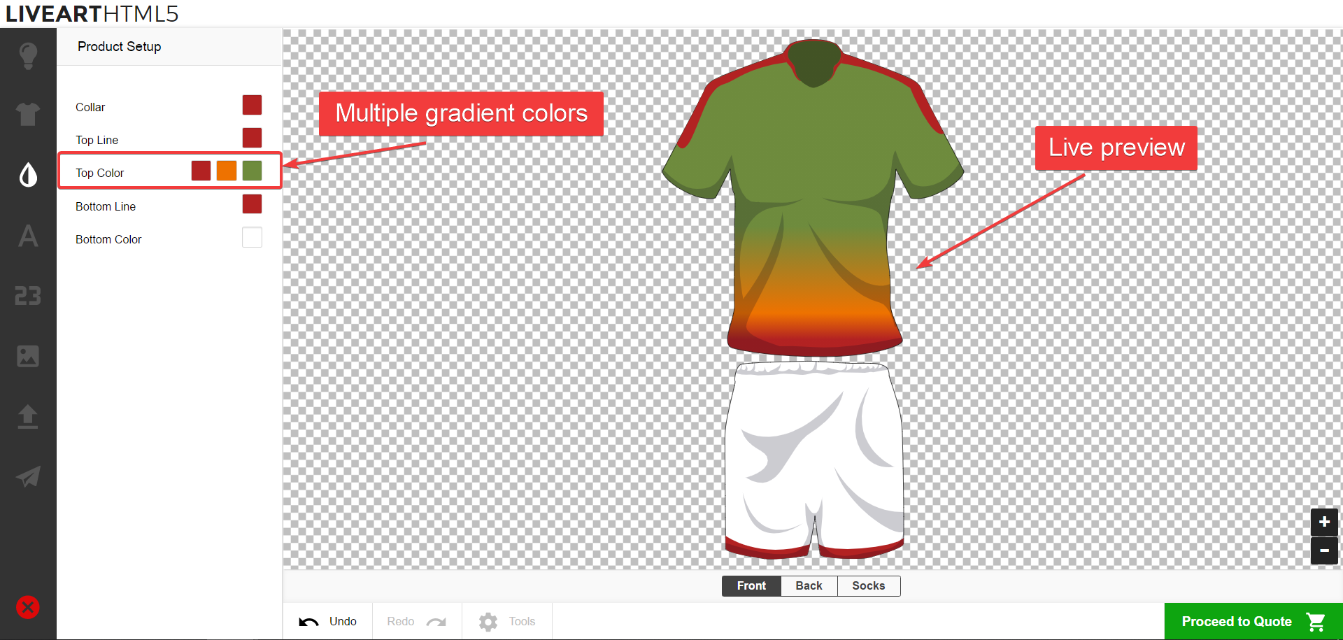 Multiple gradients feature in LiveArt HTML5 designer